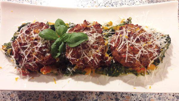 Kürbis-Muffins mit Spinat-Kürbis-Gemüse